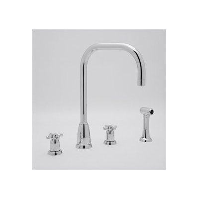 4 Hole Contemporary Spout Kitchen Faucet with Sidespray