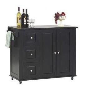 Ebony Kitchen Island with Stools
