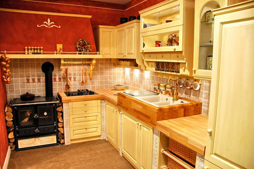 Red French Country Kitchen Design