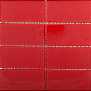 Red Glass Metallic Tile