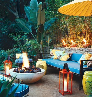 A Firepit Can Act As A Great Focal Point For A Tropical Themed Patio