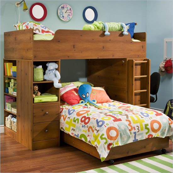Contemporary Kids L Shaped Loft w Bottom Bed on Casters