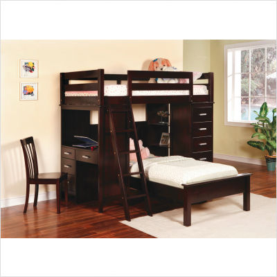 Depoe Bay Workstation Twin Twin Bunk Bed in Cappuccino