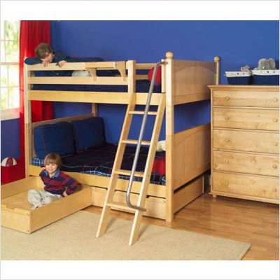 Full Over Full Medium High Bunk Bed with Under Bed Storage Drawers