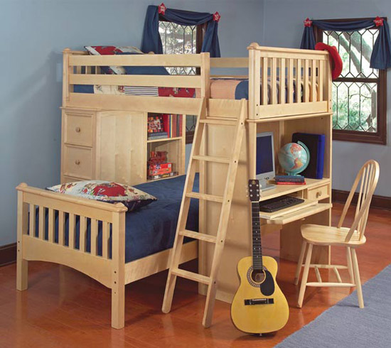 Mission Storage Twin L-Sheped Loft Bed Set in Natural Finish