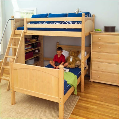 Twin High Loft Bunk Bed With Bookcase