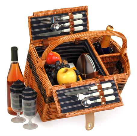 2 Person Hand Woven Willow Picnic Basket