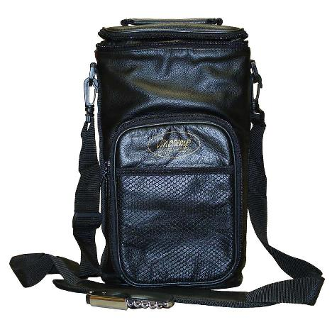Vinotemp - Leather Wine Carrier in Black